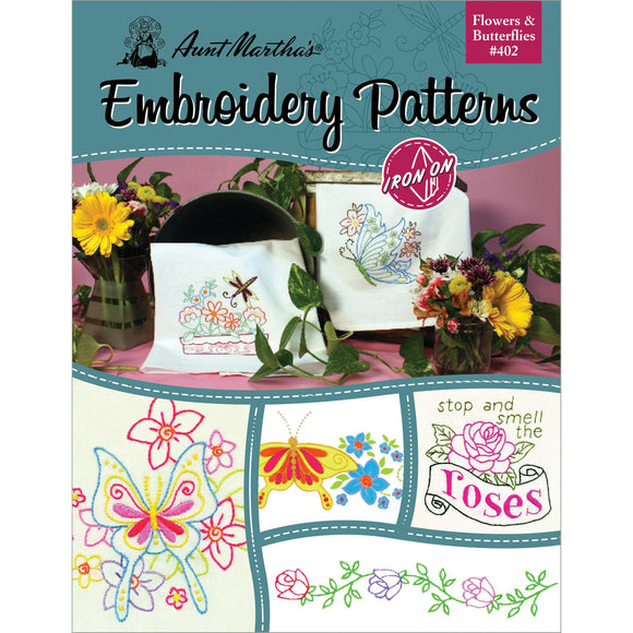 Aunt Martha's Iron-On Transfer Book-Flowers & Butterflies