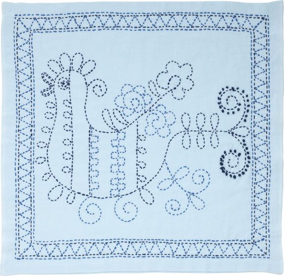 Sashiko World Russia Stamped Embroidery Kit-Rooster W/Blue Flower