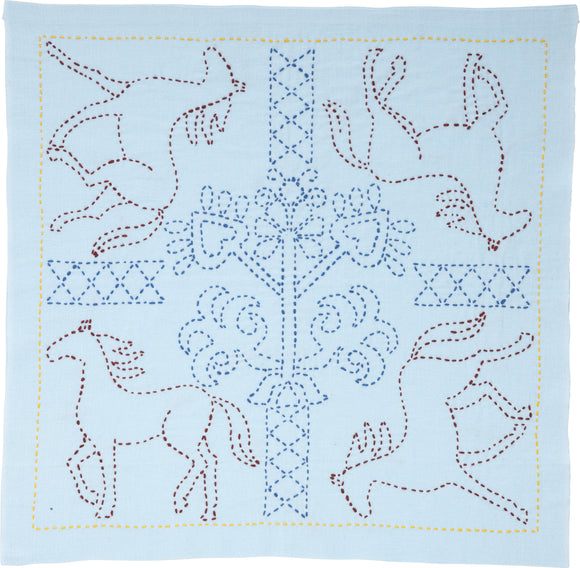 Sashiko World Russia Stamped Embroidery Kit-Galloping Horses