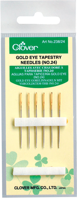 Size 24 6/Pkg Clover Gold Eye Tapestry Needles