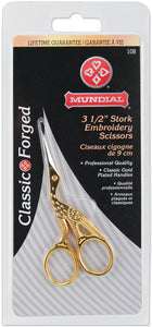 Gold-Plated Mundial Classic Forged Stork Embroidery Scissors 3.5""