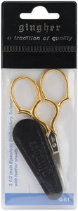 "Gingher Gold-Handled Epaulette Embroidery Scissors 3-1/2""-W/Leather Sheath"