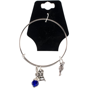 "Charming Accents Adjustable Charm Bangle 7.5""-Spinning Wheel"