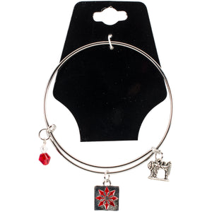 "Charming Accents Adjustable Charm Bangle 7.5""-Red Quilt Block"