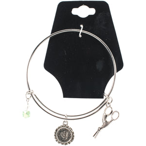 "Charming Accents Adjustable Charm Bangle 7.5""-X-Stitch"