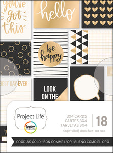 "Project Life Themed Cards 3""X4"" 18/Pkg-Good As Gold"