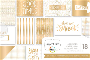 "Project Life Themed Cards 4""X6"" 18/Pkg-Gold & Bold"
