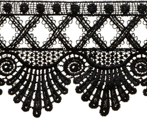 "Simplicity Scalloped Edge Venice Lace 3.5""X6yd-Black"
