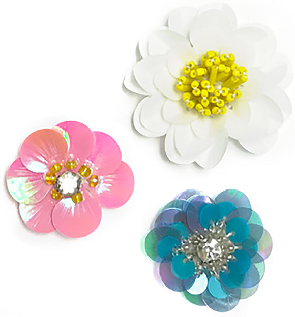 Maggie Holmes Willow Lane Sequin Flowers 3/Pkg-