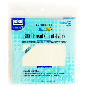"Pellon 300 Thread Count Cotton Fabric For Embroidery-Ivory 20""X24"""
