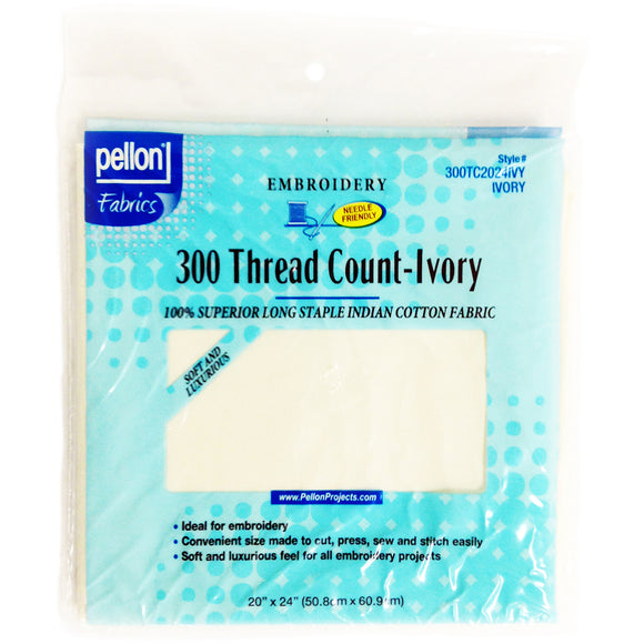 Pellon 300 Thread Count Cotton Fabric For Embroidery-Ivory 20