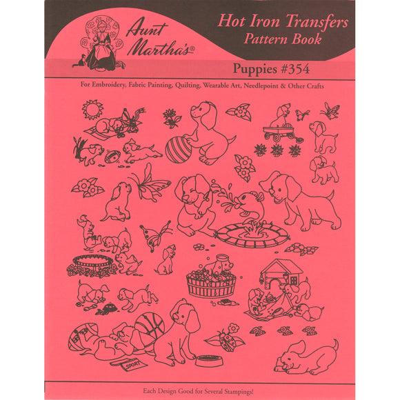 Aunt Martha's Iron-On Transfer Book-Puppies