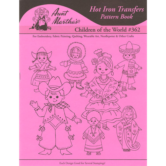Aunt Martha's Iron-On Transfer Book-Children Of The World
