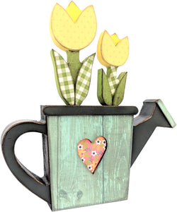 "Wood Watering Can W/Flowers-8.5""X9.5"""