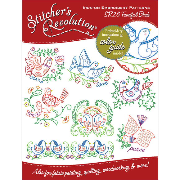 Stitcher's Revolution Iron-On Transfers-Fanciful Birds