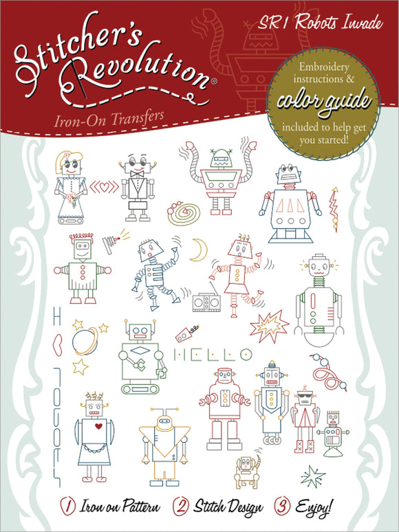 Stitcher's Revolution Iron-On Transfers-Robots Invade