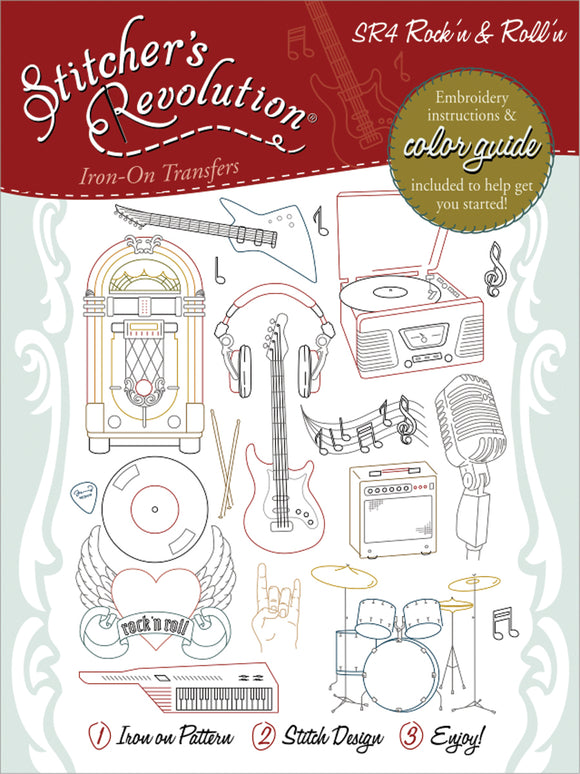 Stitcher's Revolution Iron-On Transfers-Rock'n & Roll'n