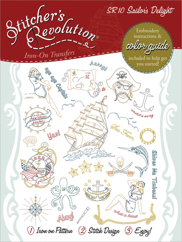 Stitcher's Revolution Iron-On Transfers-Sailor's Delight