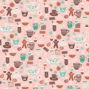 Gingerbread Bakery Chocolate Delights in Light Pink Fabric by Paula Mcgloin