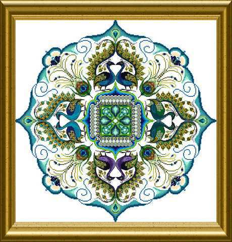 Chatelaine Designs The Sparkling Peacock Mandala Counted Cross Stitch Pattern