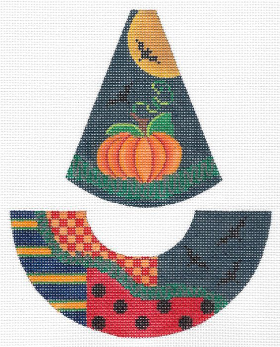 Kelly Clark Raven Flies Witch Hat Hand Painted Needlepoint Canvas