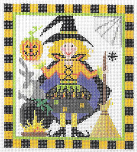 Kelly Clark Witch One Hand Painted Needlepoint Canvas
