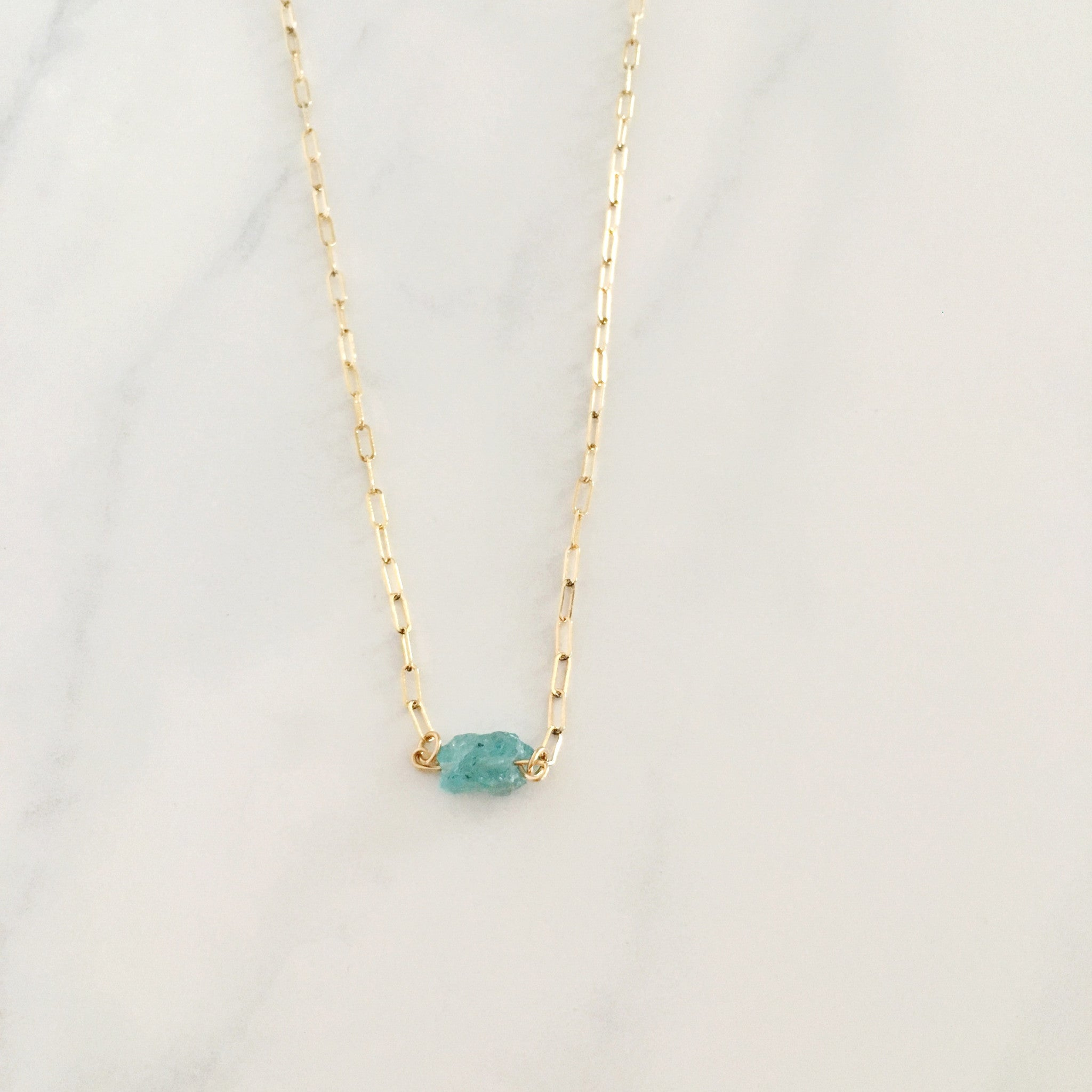 aquamarine healing crystal necklace