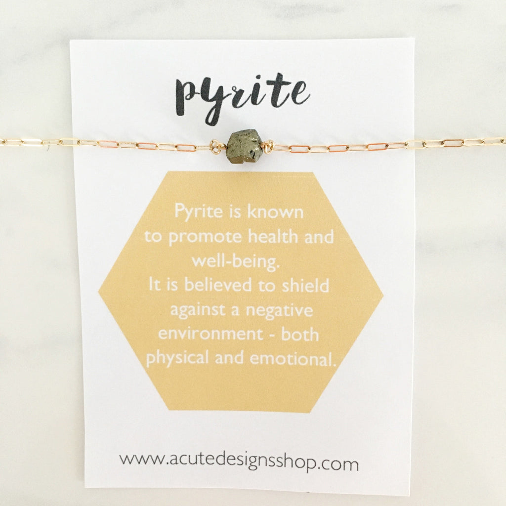 pyrite healing crystal necklace