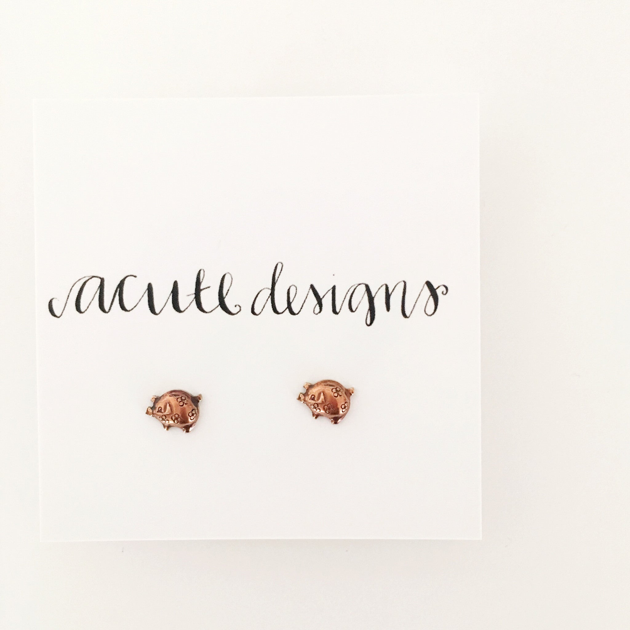 piglet stud earrings