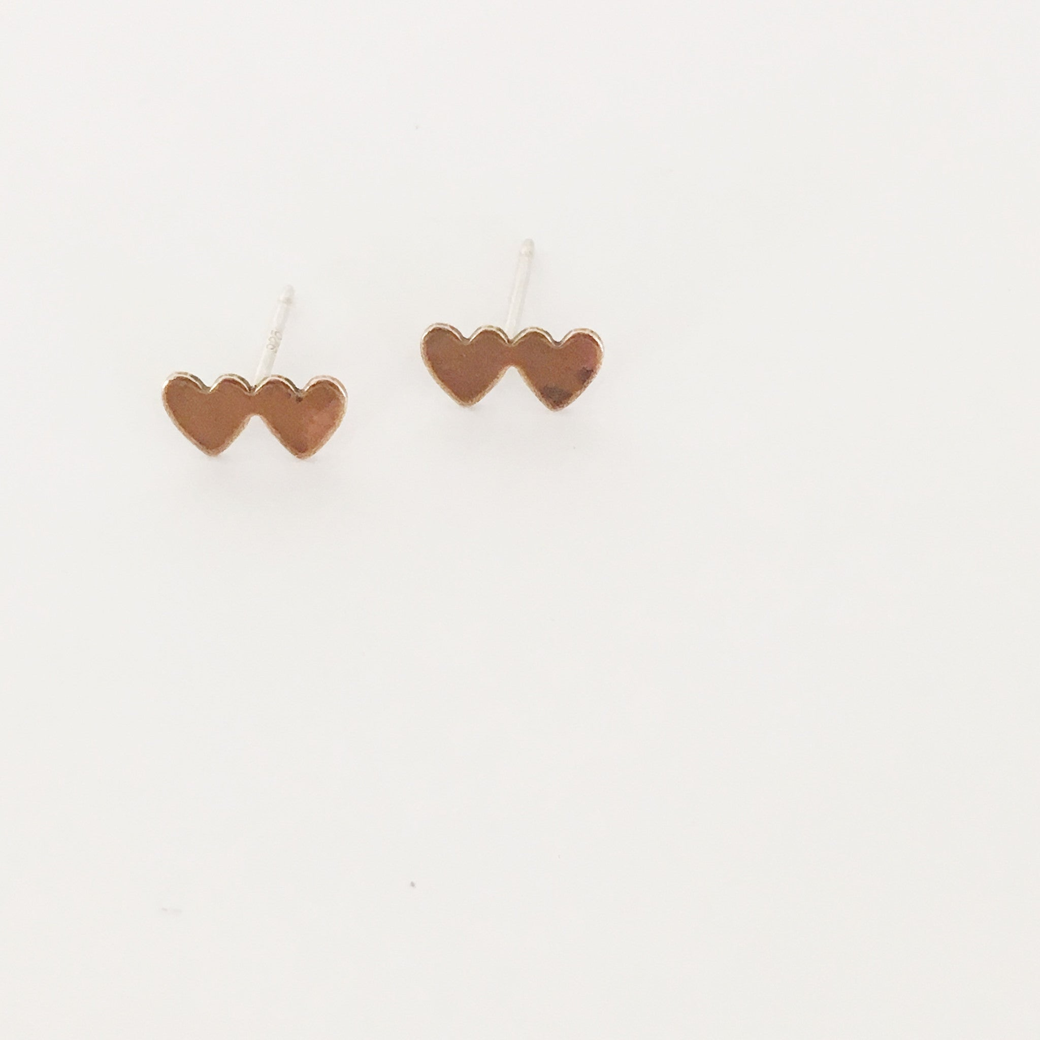 gold heart earring posts