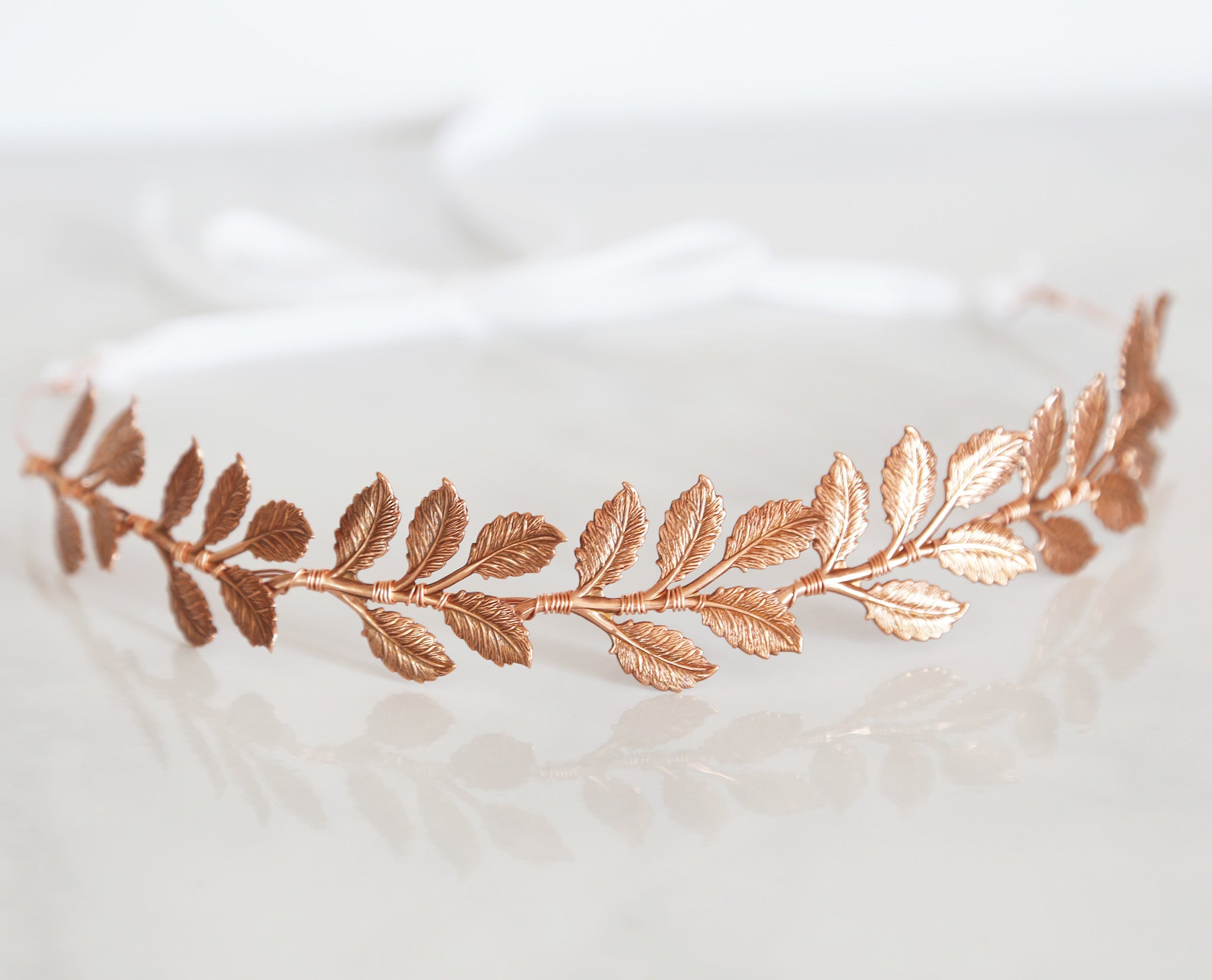 rose gold leaf crown