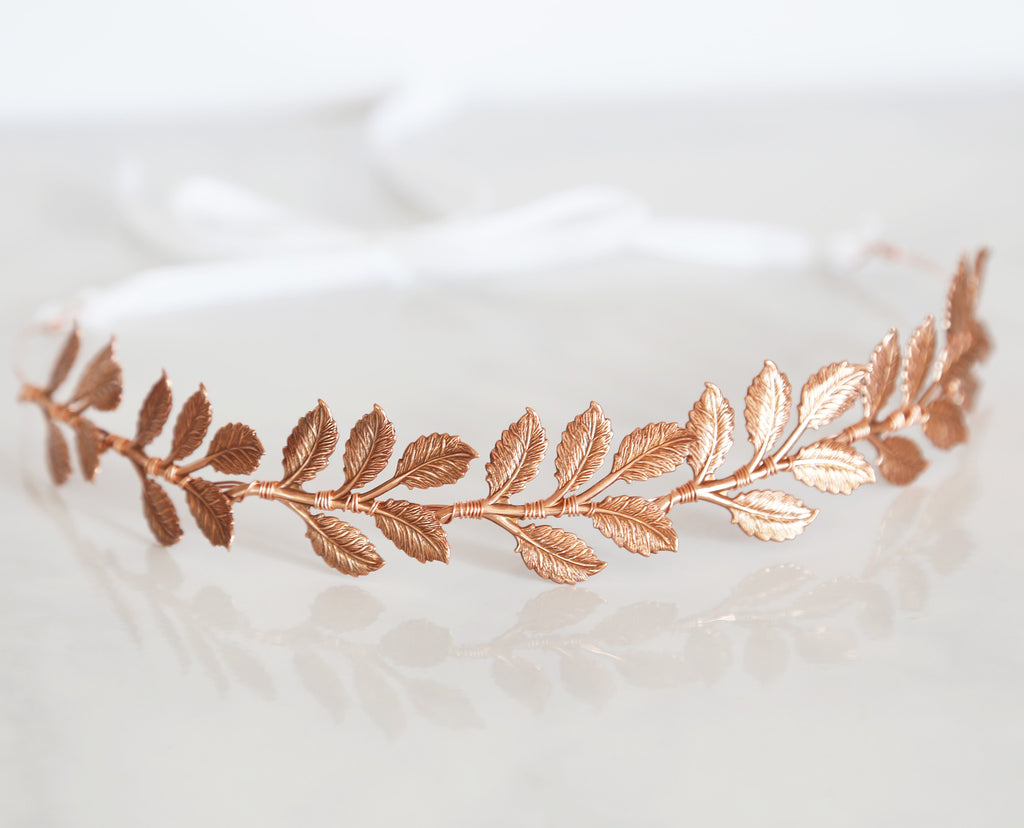 Large Leaves Rose Gold Crown - Tie Headband, Crown, Bridal, Special Occasion