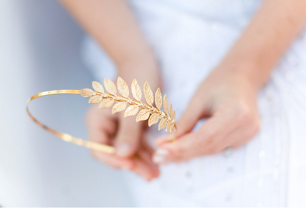 Simple Goddess Leaf Headband - Gold or SIlver, Simple Laurel Leaf Headband, Bridal or Everyday