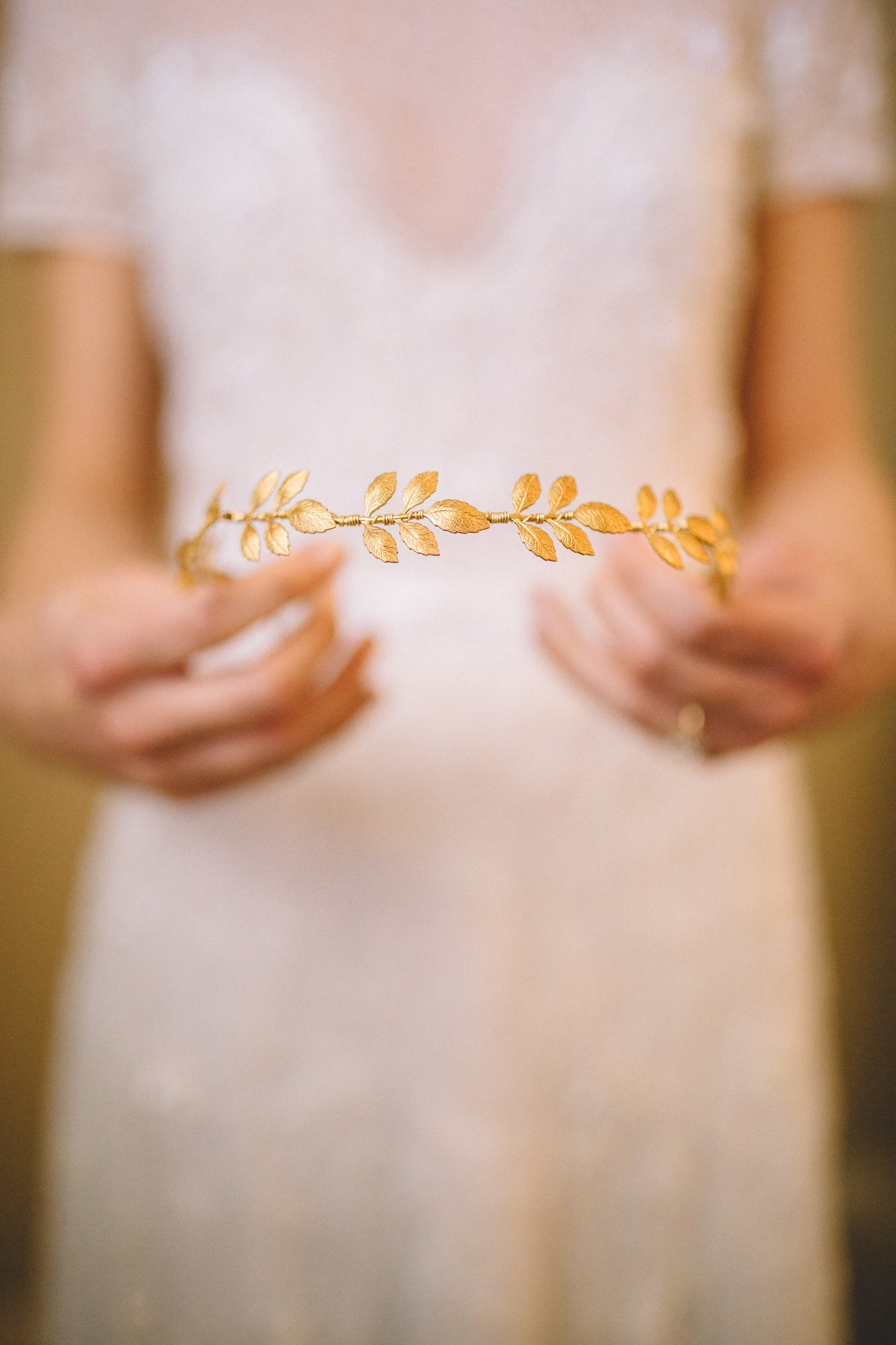 gold wedding leaf crown