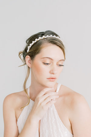 Simple Swarovski Pearl Headband - Hairpiece, Bridal, Head Piece, Hair Accessories, Pearls