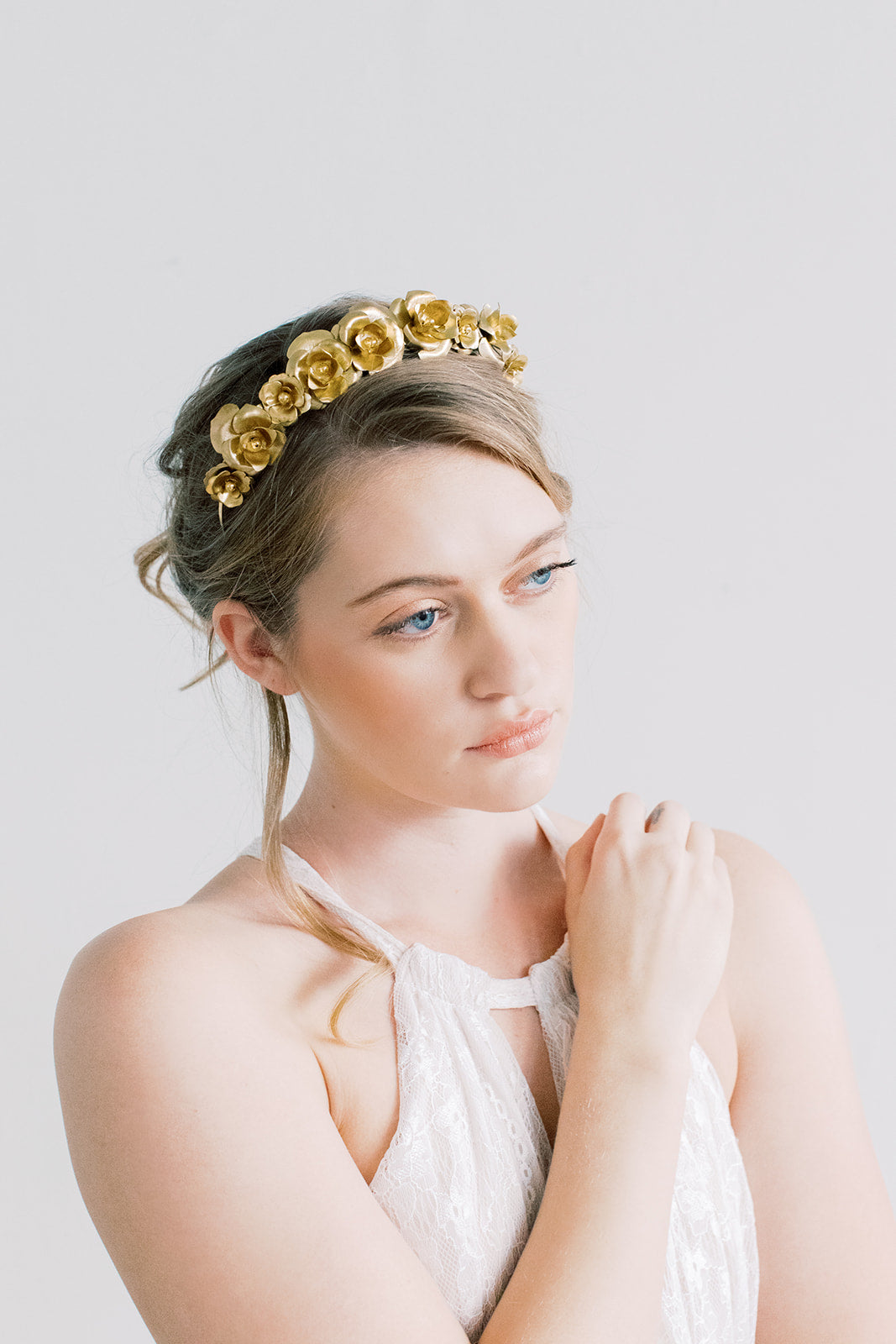 Rosebud Crown - Gold Flower Crown, Hairpiece, Bridal, Head Piece, Hair Accessories, tiara
