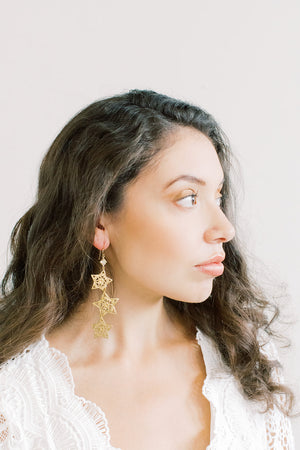 Triple Star Statement Earrings