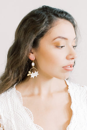 White Enameled Flower Statement Earrings