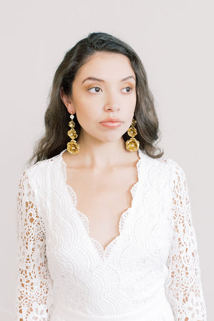 Triple Rose Statement Earrings