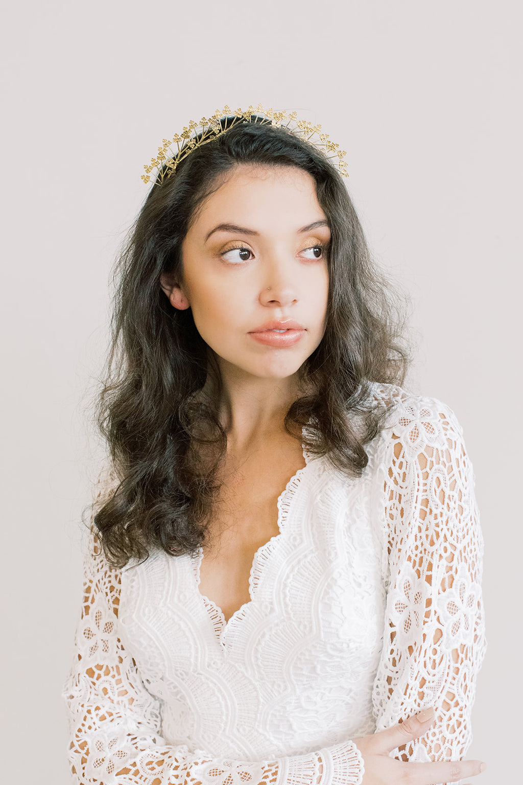 Queen Anne's Lace Crown - Gold Headband, Flower Crown, Bridal, Head Piece, Hair Accessories