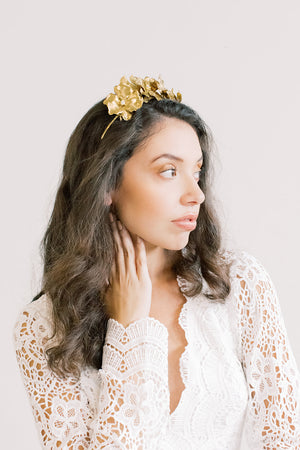 Lavish Rose Petal Crown - Gold Flower Crown, Hairpiece, Bridal, Head Piece, Hair Accessories, tiara