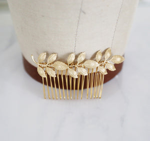 gold wedding leaf comb