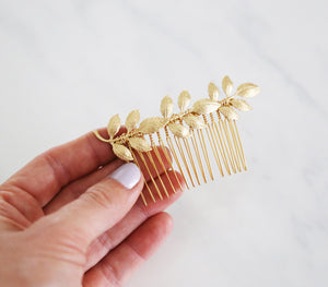 Athena Leaf Bridal Comb - Bridal Wedding hair, Boho Comb, hair piece