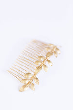gold leaf bridal comb