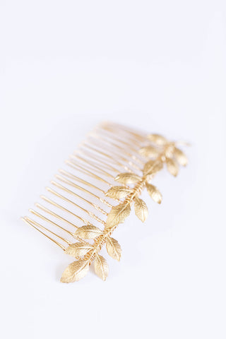 Gold Leaf Athena Comb - Bridal or Special Occasion Boho Comb, crown, hair piece