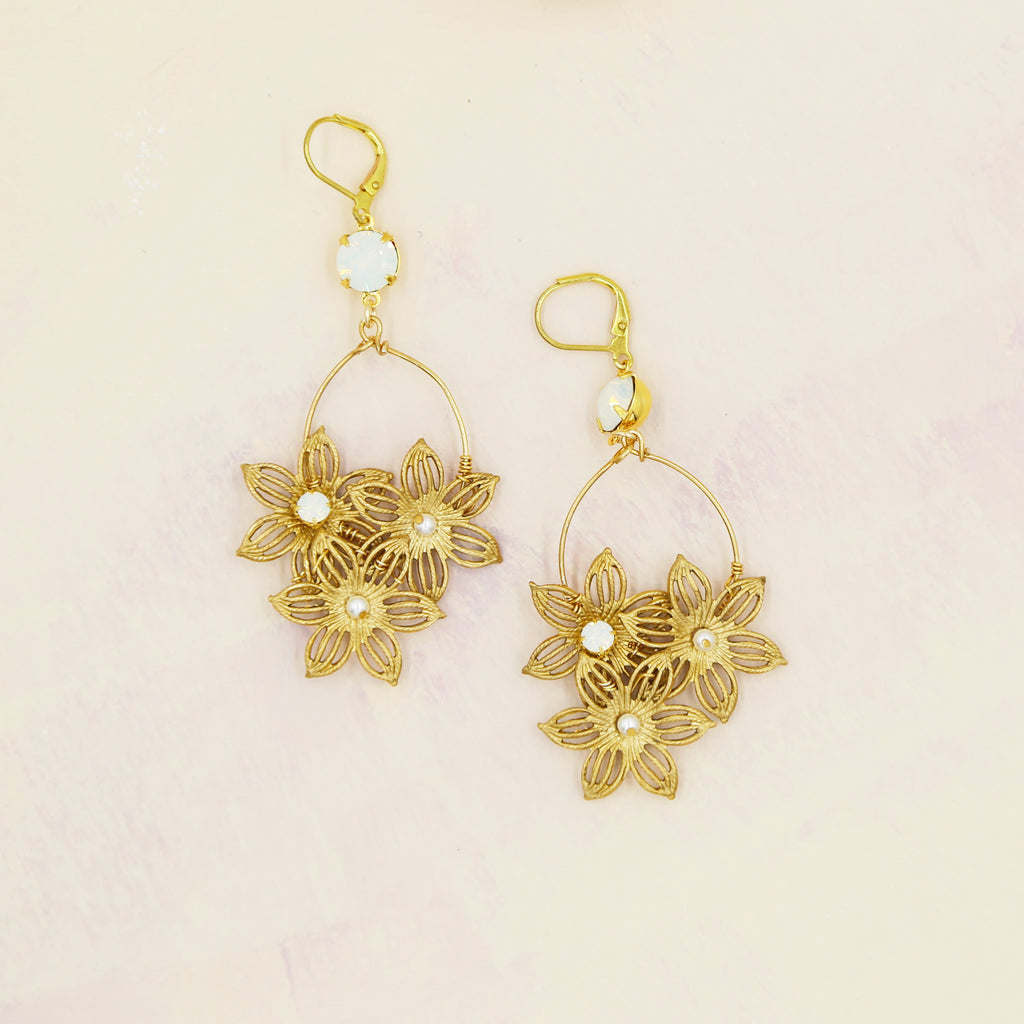 Floral Cluster Statement Earrings