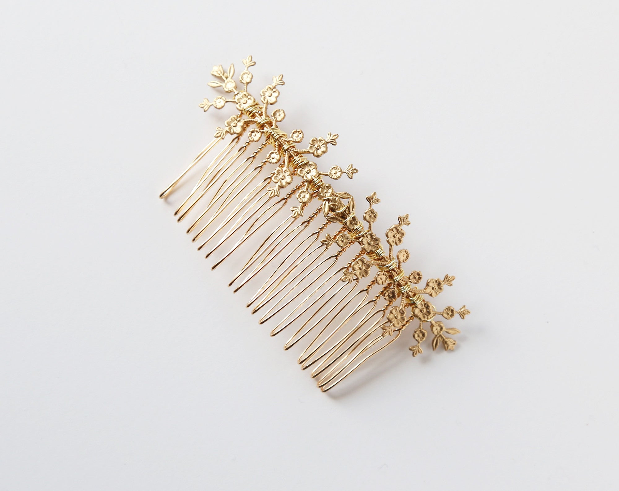 gold flower wedding bridal comb