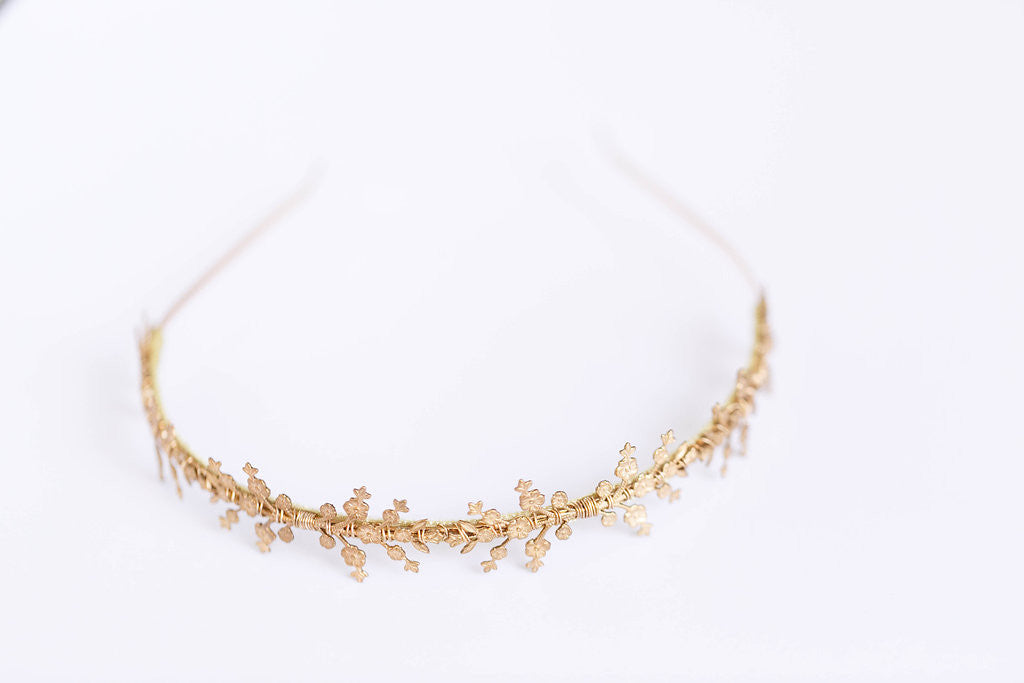 gold flower wedding bridal headband