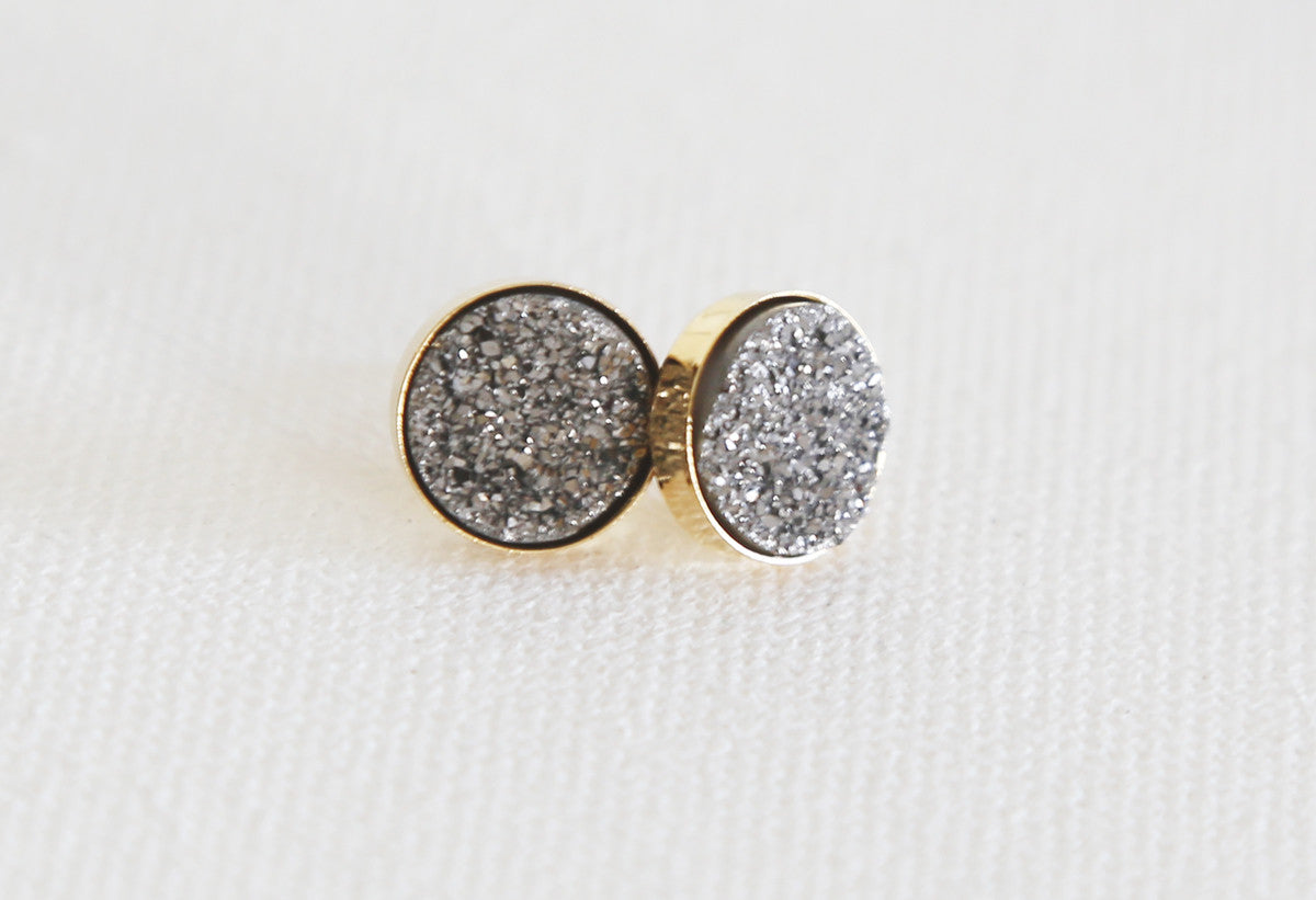 Sparkling Medium (8mm) Natural Druzy Stud Earrings