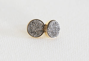 10mm druzy stud earrings